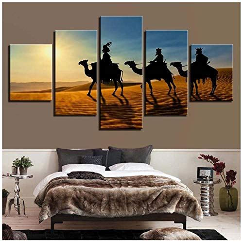 Generic Brands Canvas print 5 panels Desert camel Wall Art Image Framed Artwork Picture 3D HD print Canvas Painting for Home Living Room Office Mordern Decoration Gift - No Frame 100x55cm