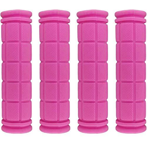 2 paia di manopole antiscivolo in gomma per manubrio della bicicletta, per BMX, mountain bike, mountain bike, bambini e ragazze (rosa)
