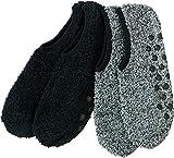 Camano Damen Kuschel-Sneakersocken 2er-Pack schwarz/schwarz meliert Größe 39-42