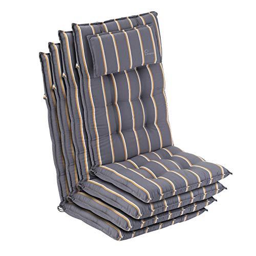 Homeoutfit24 Sylt - Cojín Acolchado para sillas de jardín, Hecho en Europa, Respaldo Alto con cojín de Cabeza extraíble, Resistente Rayos UV, Poliéster, 120 x 50 x 9 cm, 4 Unidades, Gris/Amarillo