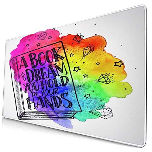 Großwild-Mauspad,Handgezeichnetes Buch mit dem Zitat auf dem Umschlag auf einem Aquarel,Rutschfester Schreibtisch-Pad-Schutz,Schreibtisch-Schreibmatte für Desktop,Computer-Laptop,15.8