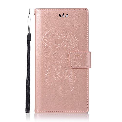 Sunrive Hülle Für Sony Xperia XZ Premium, Magnetisch Schaltfläche Ledertasche Schutzhülle Hülle Handyhülle Schalen Handy Tasche Lederhülle(Roségold Eule)