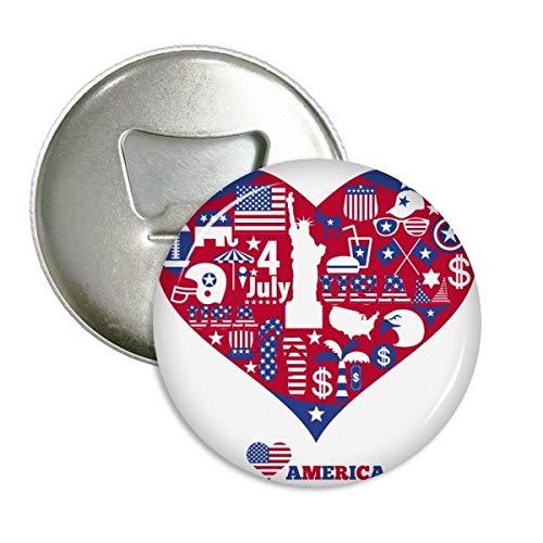 DIYthinker Amerika Nationale Vlag Hartbeeld Vrijheid Ronde Flesopener Koelkast Magneet Pins Badge Button Gift 3 stks