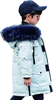 2019 New Boy Black and White Long Down Jacket, Korean Version of The Thick Boy Boy Baby Casual Jacket, Color Optional,White,150