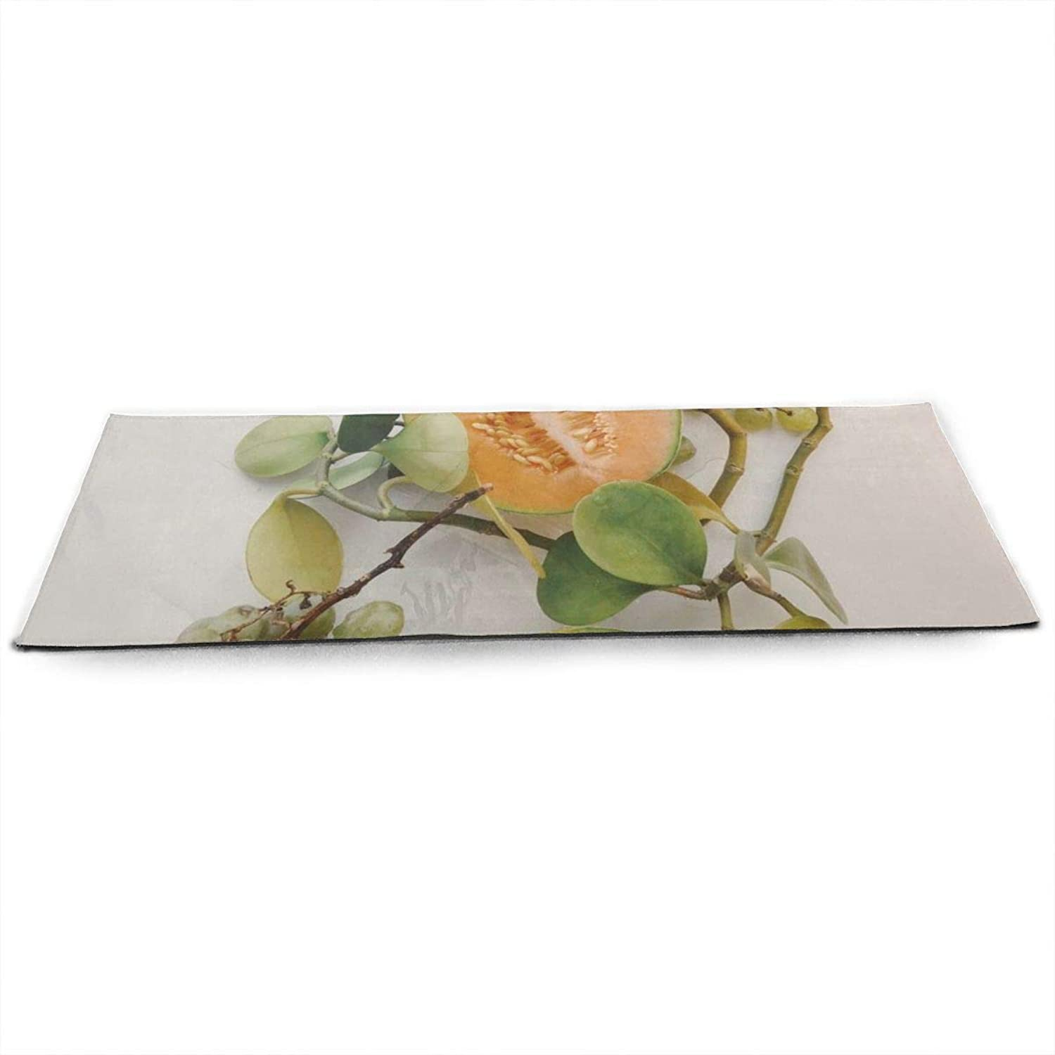 Whages Two Sliced Melons and Grapes NonSlip Soft Advanced Printed Environmental Yoga Mat 31.5   × 51.2