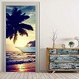 Puerta Pegatinas Mural para puerta interior 3D Autoadhesivo Impermeable PVC DIY Art Mural de puerta Decoración De Habitaciones De Niños Y Niñas 77X200cm árbol de coco