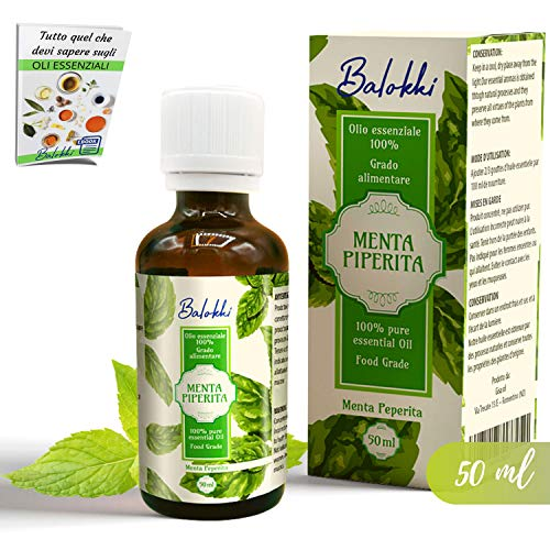 Aceite Esencial de Menta Piperita Grado Alimentaio + Ebook Incluido • 100% Puro&Natural por Aromaterapia y Difusor • Antiinflamatorio, digestivo y refrescante • 50ml