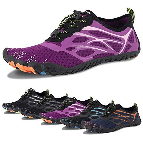 Zapatos de agua para hombre de secado rápido Aqua Sock al aire libre Athletic Sport zapatos para kayak, barco, senderismo, surf, caminar, (D-Rojo Rosa), 39/39.5 EU