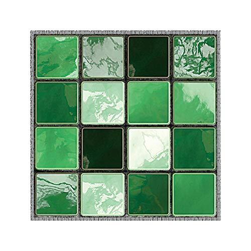 Prosperveil 19 Stück Mosaik-Wandfliesen Aufkleber selbstklebend wasserfest Küche Badezimmer Fliesen Wandaufkleber Vinyl Art Decals Home Decor 10 x 10 cm Grüner Ziegel