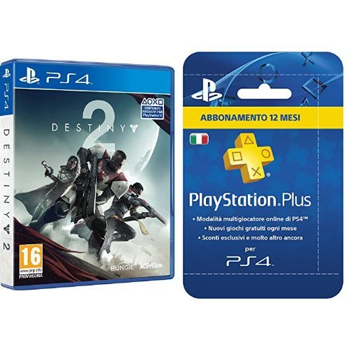 PlayStation Plus Card Hang Abbonamento 12 Mesi & Destiny 2 DLC Esclusivo PlayStation 4
