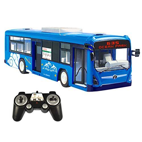 Likecom Autobús profesional teledirigido de 2,4 GHz, con luz y sonido realistas, juguete para niños y adultos, color azul