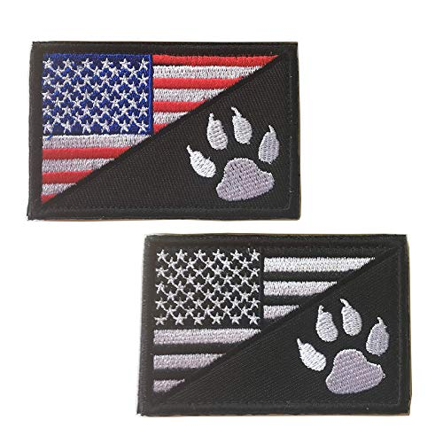 Ultrafun Service Dog Hook & Loop Fastening Tape Patch for Pet Harness Vest - 2 X 3 Inches - Set of 2 (Flag with Tracker Paw)