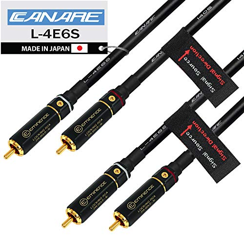 1 Foot RCA Cable Pair - Canare L-4E6S, Star Quad, Audio Interconnect Cable with Premium Gold Plated Locking RCA Connectors - Directional - Custom Made by WORLDS BEST CABLES.