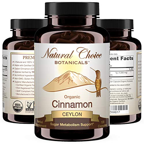 Certified Organic Ceylon Cinnamon, 1000 mg per Serving (500 mg per Capsule), Supplement - 120 Capsules, 2 Month Supply
