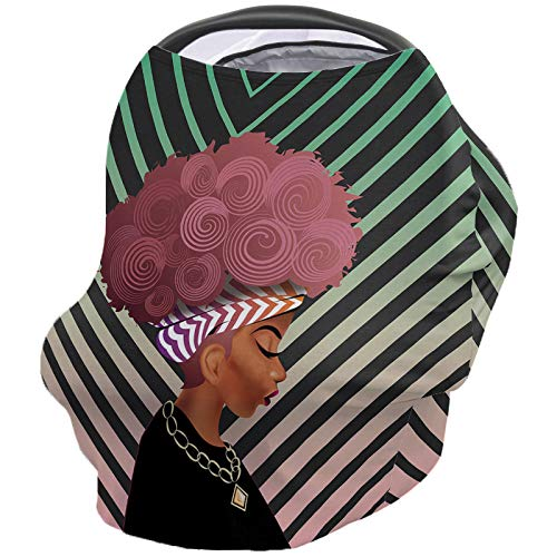 Read About Women Black Nursing Cover for Baby Breastfeeding, Soft Breathable Stretchy Carseat Canopy...
