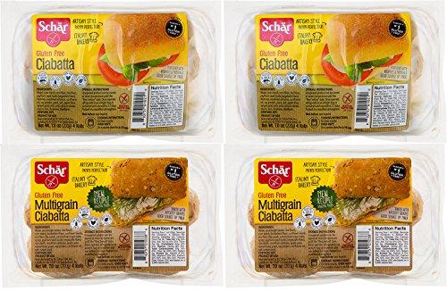 Schar Gluten Free Parbaked Ciabatta Roll Samplers w/ Reglar & Multigrain Rolls, (4 Pack)