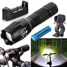 Garberiel LED Flashlight Waterproof Adjust Focus T6 Protable Torch 5 Modes 18650 Flashlight 3000 Lumens Bike Light for Outdoors Camping Fishing Riding