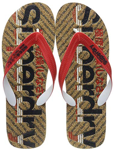 Superdry Herren Cork Colour POP FLIP Flop Zehentrenner, Mehrfarbig (Vulcan Navy/True Red/Cork V2y), 44-45 EU (L UK)