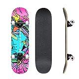 Deck Dance Skateboard 7 Couches Junior Skateboard Complete Skateboard-Double Kick Maple Adult Skill Beginner Skateboard, Est Un Cadeau pour Les Amis De 31x8 Pouces Adultes, Adolescents Et Enfants