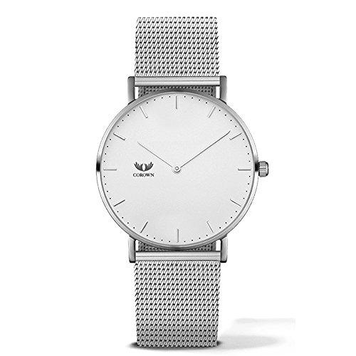 Corown   Line one   White Silver   Herren Uhr Edelstahl   Milanaise-Armband Silber   Schweizer Laufwerk