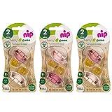nip® Schnuller CHERRY® Green Gr.2 ab 6 Motane, Multi-pack for Girls, 6er Pack