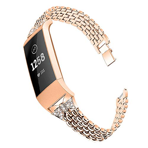 GhrKwiew Metal Bands Compatible with Fitbit Charge 3 Strap, Bling Rhinestone Elegant Stainless Steel Metal Replacement Bracelet Wristband for Fitbit Charge 4/ Charge 3 (D01)
