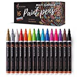 Paint Pens for Rock Painting, Stone, Metal, Ceramic, Porcelain, Glass, Wood, Fabric, Canvas. Set of 15...