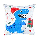 """WERNNSAI Christmas Pillow Cover - 16"""" × 16"""" Silver Sequin Throw Pillow Cases for Boys Birthday Xmas Gift Dinosaur Decorative Cushion Covers for Sofa CouchHome Bed(NO Pillow Inserts)"""