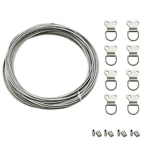 Drahtseil 2mm Edelstahl Drahtseil mit Kunststoffmantel, Stahlseil 2mm mit 8 Pressösen und 8 Bild Aufhänger, Stahlseil mit ösen für Gardinenaufhängung Bildaufhängung Seil (8m)