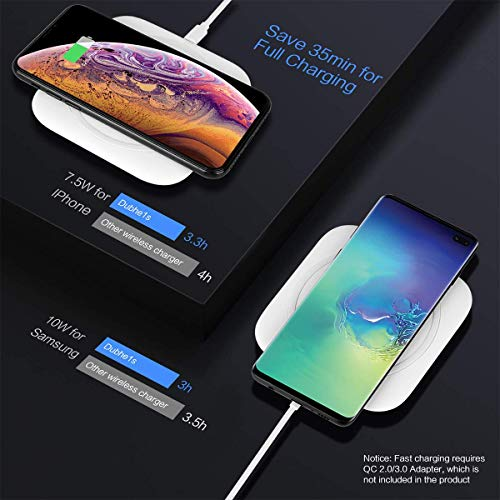 Hoidokly Wireless Charger 10W Kabelloses Ladegerät Qi Ladestation Schnellladen für Samsung Galaxy S10/S10+/S9/S8, Huawei P30 Pro/Mate 20 Pro, 7.5W für iPhone 11/11 Pro/XS Max/XR/X/8/8 Plus/Airpods 2 - 2