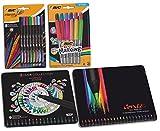 BIC et Conté Kit Ecriture et Coloriage - 20 Feutres/24 Crayons de Couleur/8 Feutres Pointe Fine/12 Marqueurs Permanents, Lot de 4