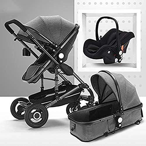 Landaus 3 en 1 Poussette High View Transport Poussette Anti-Shock Baby Basket à Deux Voies du Nouveau-né Travelling bébé Fournitures pour bébé ( Color : Black Tube-Gray )