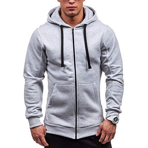Yowablo Herren-Kapuzen-Sweatshirt mit Kapuze, Pullover, Kleidung, Trainingsanzug, langärmlig, Winter, lässig, Oberteil, Bluse Gr. XL, 7 grau