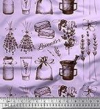 Soimoi Lila Baumwoll-Voile Stoff Lavendel, Glas & Mörser