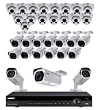 Lorex 8MP 4K Ultra HD IP 2 HDD Slot NVR System with 4K LNB8963BW IP Bullet and 4K LNE8964AB Audio IP Dome Cameras Package, 32 Channel6 TB NR9326 NVR, 16 White Bullet and 16 White Dome Cameras