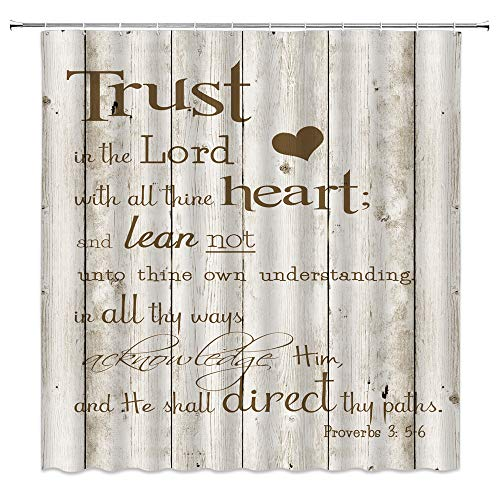 Inspirational Quote Shower Curtain Christian Bible Verses Scripture Quotes Trust in the Lord with All Thine Heart Rustic Wooden Motivational Vintage Creative Fabric Bath Curtain 70x70 IN with Hooks