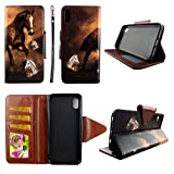 Wirelesspulse Wallet Folio Case for iPhone Xs Max Brown Horse Fashion Flip PU Leather Cover Card Cash Slots & Stand
