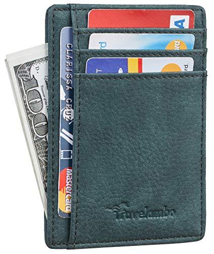 Travelambo Front Pocket Minimalist Leather Slim Wallet RFID Blocking Medium Size (OD Green Knight)