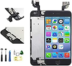 with Front Camera Facing Proximity Sensor Earpiece Speaker Home Button Full Assembly Digitizer Display LCD Screen Replacement for iPhone 6 4.7 Inch Black