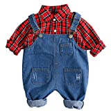 Odziezet Ropa Bebé Recién Nacido Fotografia Pantalones de Petos Vaquero Camisa Primavera Otoño Casual 3-24 Meses