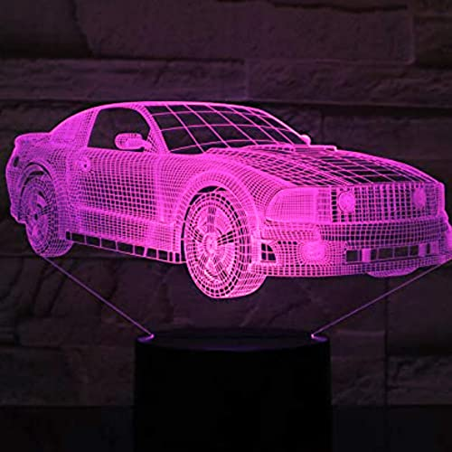 3D LED lámparas Automóvil ilusion optica luz de noche 7 colores Contacto Arte Escultura luces con cables USB Lampara Decoracion Dormitorio escritorio mesa para niños adultos