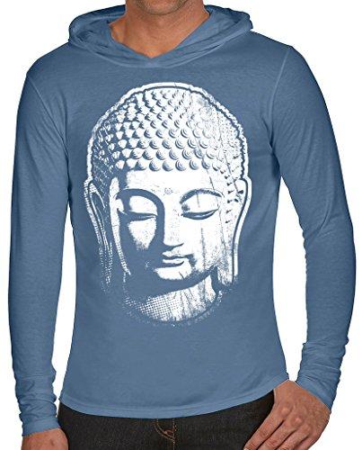 Mens Big Buddha Head Hoodie Tee, XL Blue Jean