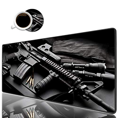 Desk Pad Mat Gaming Mouse Pads with Coasters Set, Stitched Edges Design Mouse Pad XXL Large Mouse Pad for Laptop Computers AR 15 Tactical Rifles Desk Writing Mat for Office & Home 31.5'x 11.8'