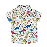uideazone Boys Dinosaur Button Down Shirts Children's Short Sleeve Dress Shirt Hawaiian Aloha Tops Lightweight and Skin-Friendly(3-4 Years,Dinosaur1)