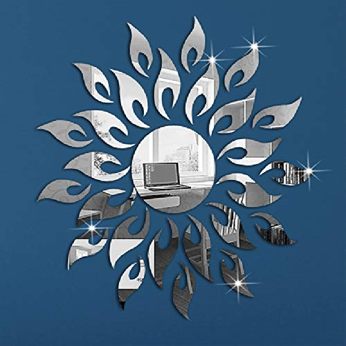 YANXI Sunflower Mirror Wall Stickers Decor, Round Acrylic DIY Self-Adhesive Wall Art Decals Miroir Mural Home Decorations for Living Room, Bedroom, TV Background Home Decor (Silver)