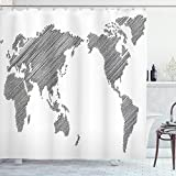 ABAKUHAUS Weltkarte Duschvorhang, Flüchtige Kontinente, aus Stoff inkl.12 Haken Digitaldruck Farbfest Langhaltig Bakterie Resistent, 175 x 200 cm, Holzkohle grau weiß