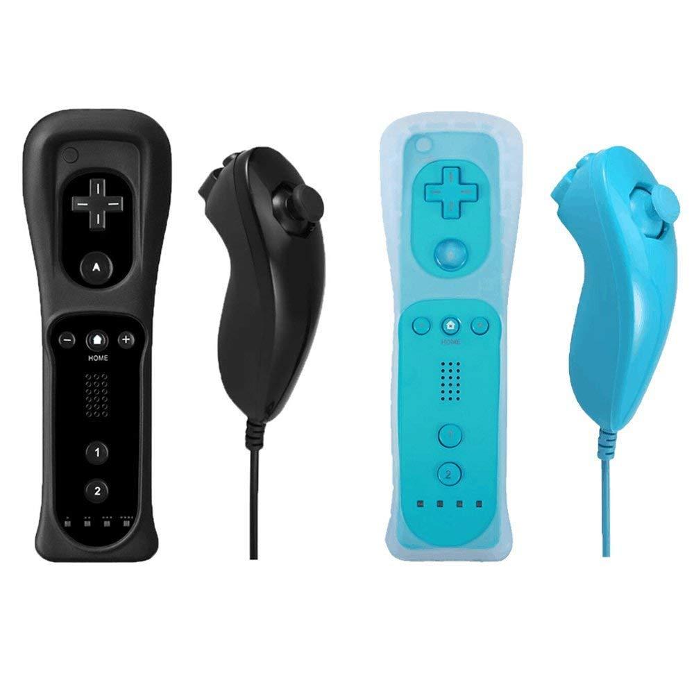 Poulep Set de 2 Motion Plus y controladores Nunchuck con funda de silicona para consola Nintendo Wii Wii U negro y azul 1: Amazon.es: Videojuegos