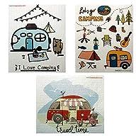 Mixed Camping Set of 3 Cloths Swedish Dishcloths (One of Each Design) | ECO Friendly Sponge Cloth | Paper Towel…