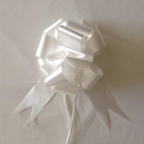 Lot de 30, 30 mm Ruban Satin Nœud, idéal pour mariage, fête, décoration de voiture, mariage, Fleuriste, et, cadeaux, blanc