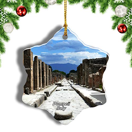 Weekino Pompeii Naples Italy Christmas Ornament Travel Souvenir Tree Hanging Pendant Decoration Porcelain 1619' Double Sided